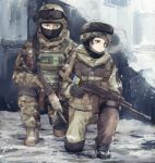 ak-74 assault_rifle blue_eyes brown_eyes gun helmet military military_uniform msc_nm original rifle snow snowing uniform weapon winter
