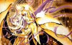 1girl armor athena_(saint_seiya) floating_hair gauntlets gold_cloth highres holding long_hair purple_hair sacred_saga saint_seiya solo spaulders staff