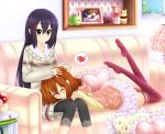 2girls ^_^ alternate_costume alternate_hairstyle baretto black_hair brown_eyes brown_hair closed_eyes commentary_request couch hair_ornament hairpin hirasawa_yui k-on! long_hair multiple_girls nakano_azusa photo_(object) short_hair smile thigh-highs
