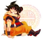 1boy 1girl arms_around_neck black_eyes black_hair boots chi-chi_(dragon_ball) chinese_clothes dated dougi dragon_ball dragon_ball_z frown hair_bun husband_and_wife kneeling sitting smile son_gokuu sweatdrop wristband yochimune