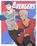 2boys abs archer avengers bianyuanqishi black_skin brown_eyes collarbone fate/stay_night fate_(series) grin highres jewelry lancer long_hair marvel multiple_boys necklace pants parody red_eyes shirt short_hair smile