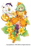 1girl :d boots braid candy candy_cane crown_braid flower flower_knight_girl food_themed_clothes food_themed_hair_ornament full_body ghost green_hair hair_ornament hat jack-o'-lantern knee_boots lollipop looking_at_viewer open_mouth orange_boots orange_skirt panties pepo_(flower_knight_girl) pumpkin_hair_ornament purple_legwear red_eyes short_hair skirt smile solo squash standing sugimeno swirl_lollipop thigh-highs underwear white_background witch_hat yellow_panties