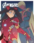 1boy 1girl armor avengers avengers:_age_of_ultron bianyuanqishi blue_eyes cosplay facial_mark fate/stay_night fate_(series) highres iron_man iron_man_(cosplay) marvel parody power_armor toosaka_rin twintails vision_(marvel) vision_(marvel)_(cosplay)