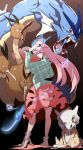 1girl bubble_skirt cubone dodrio fox_mask gyarados hata_no_kokoro highres long_hair mask pandain pink_eyes pink_hair pokemon pokemon_(creature) profile skirt touhou