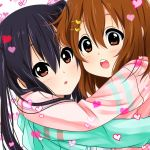 2girls :d :o alternate_costume baretto black_hair brown_eyes brown_hair commentary_request hair_ornament hairpin hirasawa_yui hug k-on! multiple_girls nakano_azusa open_mouth red_eyes smile twintails