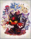 cat delcatty espurr glameow highres kantarou_(8kan) liepard litten_(pokemon) meowstic meowth no_humans persian pokemon pokemon_(creature) pokemon_(game) purrloin purugly skitty sneasel weavile