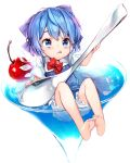 1girl :q alternate_hair_length alternate_hairstyle bangs barefoot bloomers blue_bow blue_dress blue_eyes blue_hair bow bowtie cherry cirno cup dress drink drinking_glass eyelashes flat_chest food frills fruit full_body glass glint hair_bow highres holding holding_spoon ice ice_wings in_container in_cup lens_flare licking_lips loose_bowtie minigirl oversized_object partially_submerged red_bow red_bowtie shirt short_hair short_sleeves sitting soles solo takotsu tongue tongue_out touhou transparent transparent_wings underwear white_background white_shirt wings