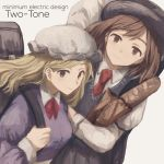 album_cover backpack bag black_hat blonde_hair blue_eyes brown_eyes brown_hair collared_shirt cover dress_shirt fedora hat long_hair looking_at_viewer maribel_hearn mob_cap msc_nm multiple_girls necktie red_necktie shirt simple_background smile sweater tareme touhou upper_body usami_renko white_background white_hat wing_collar