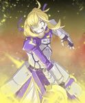 1girl armor ashes background blonde_hair dress excalibur fate/stay_night fate_(series) focused green_eyes materclaws ribbon saber smile sword weapon zooming_in