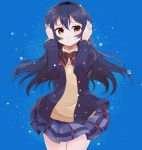 blue_hair blush brown_eyes long_hair love_live!_school_idol_project seifuku skirt smile sonoda_umi
