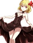 1girl armpits bare_arms bare_shoulders blonde_hair breasts choker cleavage cleavage_cutout closed_mouth covered_navel cowboy_shot dress dutch_angle hair_ribbon highres looking_at_viewer red_eyes red_ribbon ribbon rumia short_hair simple_background skirt_hold sleeveless sleeveless_dress smile solo thigh_gap touhou white_background yarumi_(suina)