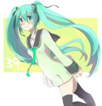 aqua_hair bad_id hair_ribbon hatsune_miku karuha long_hair ribbon thigh-highs thighhighs twintails vocaloid zettai_ryouiki
