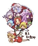 blonde_hair blue_hair book bow braid chibi chin_rest cirno closed_eyes covering_mouth crescent cup daiyousei fang flandre_scarlet green_hair hair_bow hat izayoi_sakuya knife koakuma lavender_hair long_hair lying maid maid_headdress on_stomach open_mouth outstretched_arms patchouli_knowledge purple_hair red_hair remilia_scarlet rumia short_hair side_ponytail silver_hair smile smirk spread_arms teacup the_embodiment_of_scarlet_devil touhou tsun_(tsuncha) tsuncha twin_braids wings wink
