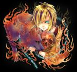 blonde_hair chain chains earrings fire glowing glowing_eyes jewelry last_c male multicolored_hair original pointy_ears short_hair skull solo wolf yukimichi