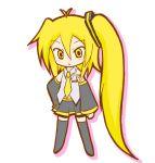 blonde_hair detached_sleeves long_hair necktie side_ponytail skirt thigh-highs thighhighs vocaloid yetu zettai_ryouiki