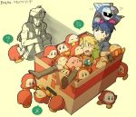 blonde_hair blue_eyes blue_hair box cardboard_box fire_emblem fire_emblem:_souen_no_kiseki fire_emblem_path_of_radiance gloom_(expression) gloves hat headband ike in_container kirby_(series) link mario mask meta_knight metal_gear_solid nintendo pointy_ears sleeping solid_snake super_smash_bros. the_legend_of_zelda waddle_dee waddle_doo yellow_eyes