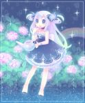 dress flower happy hydrangea inase long_hair rain rainbow watering_can