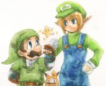 blonde_hair blue_eyes brown_hair cosplay costume costume_switch facial_hair fist_bump gloves hat link link_(cosplay) luigi luigi_(cosplay) male mario multiple_boys mustache nintendo overalls pikachu pikachu_(cosplay) pointy_ears pokemon smile starman_(mario) super_mario_bros. super_smash_bros. the_legend_of_zelda traditional_media white_background