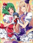 blonde_hair blue_eyes blush dress fang gloves green_hair hat kl long_hair macross macross_frontier mini_top_hat multiple_girls ranka_lee red_eyes ribbon saotome_alto sheryl_nome short_hair smile star thigh-highs thighhighs top_hat twintails