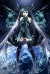 blue_hair detached_sleeves earth hatsune_miku headphones headset long_hair skirt thigh-highs thighhighs tomasu twintails very_long_hair vocaloid zettai_ryouiki