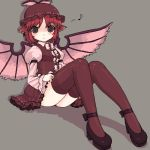 animal_ears dress frilled_dress frills grey_background hat kt2 legs looking_at_viewer lowres musical_note mystia_lorelei oekaki pink_hair shoes short_dress short_hair simple_background sitting solo thigh-highs thighhighs touhou wings zettai_ryouiki
