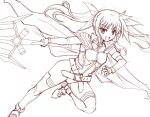 1girl armor belt cape fang gao_(naodayo) gloves hair_ribbon long_hair mahou_shoujo_lyrical_nanoha_innocent material-l monochrome open_mouth ribbon sketch solo thigh-highs twintails vulnificus