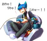 blue_hair chair controller croagunk game_controller gamepad happy male playing_games pokemon potato_chips saturn_(pokemon) short_hair team_galactic tr translated translation_request uniform video_game