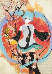 hatsune_miku highres microphone necktie sakamoto_himemi skirt thigh-highs thighhighs twintails vocaloid zettai_ryouiki