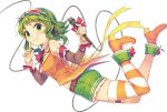 1girl album_cover bow cable cover full_body goggles goggles_on_head green_eyes green_hair gumi holding_microphone microphone natsu_natsuna ribbon short_hair_with_long_locks shorts smile solo star-shaped_glasses striped striped_legwear vocaloid white_background wrist_ribbon