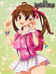 1girl backpack bag blush bow bracelet brown_eyes brown_hair copyright_name cowboy_shot double_v hair_bow jewelry keychain logo long_hair looking_at_viewer lowres official_art open_mouth outline panty_peek plaid plaid_skirt psychic_hearts randoseru ryoji_(nomura_ryouji) scrunchie short_sleeves skirt solo suspenders twintails v wrist_scrunchie