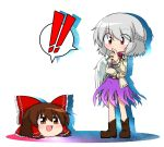 ! 2girls :d belt blush bow bowtie brown_shoes dress full_body hair_bow hair_tubes hakurei_reimu jacket katsumi5o kishin_sagume long_sleeves multiple_girls open_clothes open_jacket open_mouth purple_dress red_bow red_bowtie shared_speech_bubble shoes short_hair single_wing smile speech_bubble spoken_exclamation_mark touhou white_background white_jacket wings yukkuri_shiteitte_ne