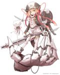 1girl baggy_shorts blonde_hair boots chain_gun giant_hand gun hat highres long_sleeves looking_at_viewer machinery mechanical_halo nanashina open_mouth puffy_shorts ribbon robot science_fiction short_hair shorts simple_background solo square_enix thigh-highs weapon white_background white_legwear yellow_eyes