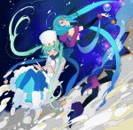 1girl back-to-back black_gloves black_legwear blue_dress blue_eyes blue_hair blue_legwear blue_nails blush book bridal_gauntlets circlet dress dual_persona earmuffs elbow_gloves full_body gloves green_eyes green_hair grey_coat hat hatsune_miku high_heels highres holding leg_warmers long_hair looking_at_viewer looking_back nail_polish open_book pantyhose quill shawl shoes space star striped striped_legwear tassel twintails ushi_(newrein) vertical-striped_legwear vertical_stripes very_long_hair vocaloid white_hat white_shoes yuki_miku