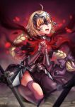 1girl ahoge armor armored_dress blonde_hair blue_eyes blurry bow braid corruption crying depth_of_field fate/apocrypha fate/grand_order fate_(series) gauntlets hands_together headpiece highres jeanne_alter kneeling long_hair nekosama_shugyouchuu one_eye_closed open_mouth pantyhose purple_bow ruler_(fate/apocrypha) ruler_(fate/grand_order) sword tears torn_clothes torn_pantyhose weapon
