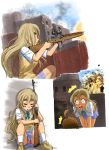 battle_rifle blonde_hair blue_eyes casing_ejection explosion eyebrows firing gun highres k-on! kotobuki_tsumugi long_hair m14 multiple_girls muzzle_flash panties rifle school_uniform scope shell_casing short_hair skirt sleeping suupii underwear weapon