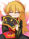 1girl :3 =_= aura baumkuchen blonde_hair blush chinese_clothes eating fire food food_on_face highres junko_(touhou) katsumi5o long_hair no_hat solo tabard touhou what wide_sleeves