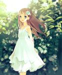 1girl :d absurdres arms_behind_back blush brown_hair collarbone dress flower green_eyes hair_flower hair_ornament highres kokabu looking_at_viewer open_mouth original outdoors sleeveless sleeveless_dress smile solo standing white_dress wind