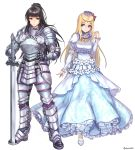 2girls aken arm_at_side armor armored_boots bangs black_hair blue_eyes blunt_bangs boots breastplate breasts character_request circlet closed_mouth crown detached_sleeves dress elbow_pads eyebrows eyebrows_visible_through_hair faulds flower frilled_dress frilled_sleeves frills gauntlets hair_flower hair_ornament hand_on_hip holding holding_sword holding_weapon legs_apart long_dress long_hair looking_at_another looking_to_the_side multiple_girls narberal_gamma overlord_(maruyama) patterned pauldrons ponytail puffy_short_sleeves puffy_sleeves red_flower shoes short_sleeves simple_background smile standing star sword tiara twitter_username weapon white_background white_dress white_flower white_shoes
