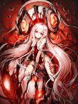 1girl barefoot central_hime highres horns kajaneko kantai_collection long_hair pink_hair red_eyes shinkaisei-kan white_hair