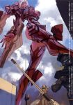1girl armor ass asuka-eva-synthesis breasts from_below giantess gun high_heels long_hair mecha_musume neon_genesis_evangelion neon_genesis_evangelion_anima open_mouth soldier souryuu_asuka_langley visor_(armor) weapon