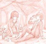 1boy 1girl ahoge barefoot drinking food highres hikigaya_hachiman hiking long_hair monochrome picnic ponpon_(ponpon62126) sitting yahari_ore_no_seishun_lovecome_wa_machigatteiru. yukinoshita_yukino