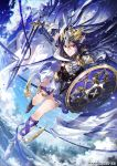 1girl blue_hair dreadnought_(tcg) earrings elf jewelry knight kyouka_hatori long_hair pointy_ears shield shoes sky sword tagme violet_eyes weapon winged_shoes wings