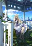 1girl barefoot bench bird blonde_hair blue_eyes breasts chef_no_kimagure_salad cleavage clouds dress flower gazebo grass hair_flower hair_ornament highres large_breasts looking_at_viewer mountain original sitting sky sleeveless sleeveless_dress solo v