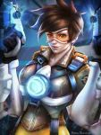 1girl absurdres artist_name brown_hair earrings gun highres jewelry mask overwatch rena_illusion short_hair smile solo tracer_(overwatch) weapon