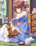 1boy 1girl admiral_(kantai_collection) alternate_costume bag bamboo bangs bare_shoulders beads blue_ribbon blush book bookshelf breasts brown_eyes brown_hair camellia_(flower) cleavage closed_eyes closed_mouth cloud_print covered_eyes cup dango drawer drawstring_bag eyebrows eyebrows_visible_through_hair floral_print flower food glass gloves green_tea hair_between_eyes hair_ornament hair_over_eyes hair_ribbon hand_on_another's_head hetero highres indoors ink_wash_painting japanese_clothes kaga_(kantai_collection) kantai_collection kanzashi kimono kinchaku lantern lap_pillow large_breasts leaf long_hair long_sleeves looking_at_another looking_at_viewer military military_uniform naval_uniform no_shoes obi off_shoulder pink_flower plate red_flower ribbon sanshoku_dango sash scroll side_ponytail signature sitting smile steam tabi tatami tea teacup tonchan tray uniform vase wagashi wall wariza white_gloves wide_sleeves yellow_eyes