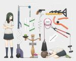 2girls balance_beam black_hair blue_eyes brown_hair crossed_arms dogeza dumbbell gun handgun heart kneehighs loafers long_hair multiple_girls original revolver ruler shoes short_hair skirt sweater_vest vacuum_cleaner weapon white_legwear yajirushi_(chanoma)