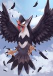 beak blue_sky claws clouds feathers highres no_humans open_mouth pokemon pokemon_(creature) red_eyes signature sky solo spread_wings staraptor tesshii_(riza4828)