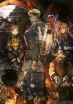 1girl 3boys armor dungeon_meshi facial_hair frying_pan highres laios_(dungeon_meshi) marushiru multiple_boys senshi_(dungeon_meshi) staff tirchac_(dungeon_meshi) toi8