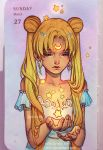 1girl bare_shoulders beads bishoujo_senshi_sailor_moon blonde_hair breasts card_(medium) cleavage crescent dated double_bun dress facial_mark forehead_mark frown hair_beads hair_ornament looking_down photo princess_serenity qinni solo star traditional_media tsukino_usagi twintails upper_body watermark web_address white_dress