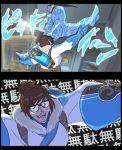 1boy 1girl fangs glasses ice jojo_no_kimyou_na_bouken mei_(overwatch) overwatch parody